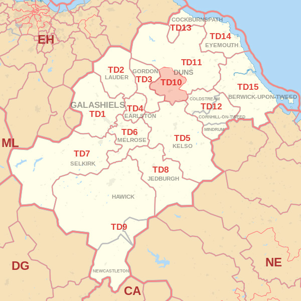 Map showing the TD10 Postcode area Covered By Kelso skip Hire