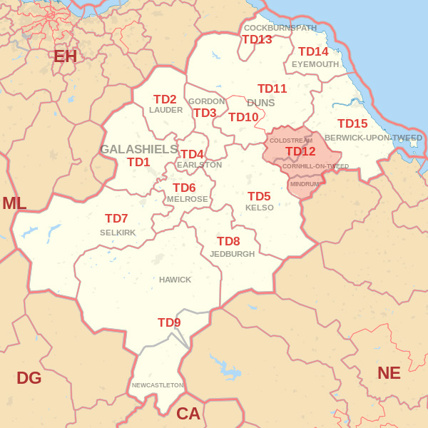 Map showing the TD12 Postcode area Covered By Kelso skip Hire