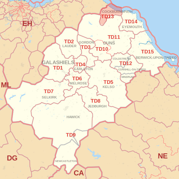 Map showing the TD13 Postcode area Covered By Kelso skip Hire