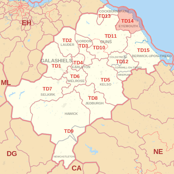 Map showing the TD14 Postcode area Covered By Kelso skip Hire