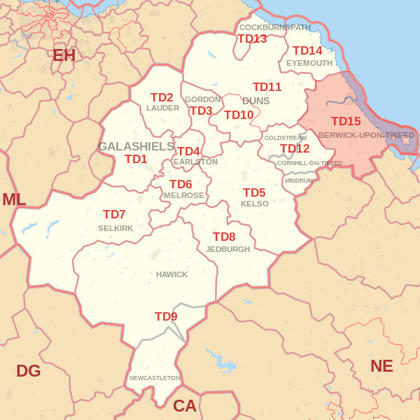 Map showing the TD15 Postcode Area Kelso skip Hire