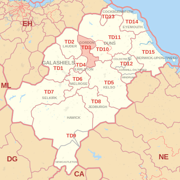 Map showing the TD3 Postcode area Covered By Kelso skip Hire