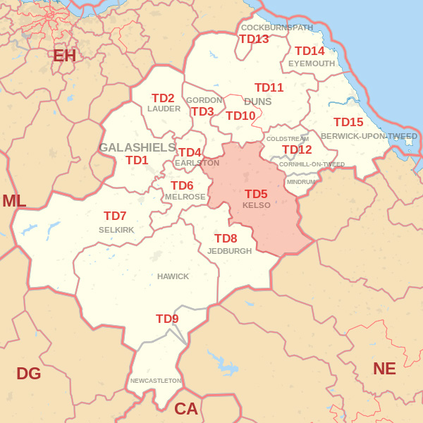 Map showing the TD5 Postcode area Covered By Kelso skip Hire
