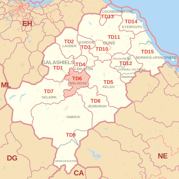 Map showing the TD6 Postcode area Cpvered By Kelso skip Hire