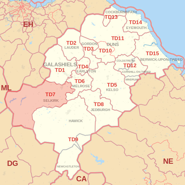 Map showing the TD7 Postcode area Covered By Kelso skip Hire