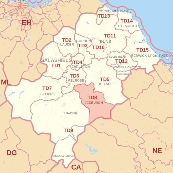Map showing the TD8 Postcode area Covered By Kelso skip Hire
