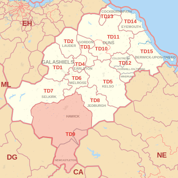 Map showing the TD9 Postcode area Covered By Kelso skip Hire