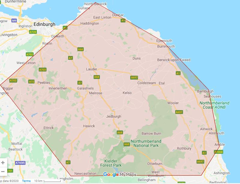 Area of operations Dunbarskip hire